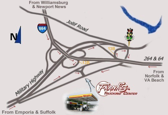 Map to Frank's Trucking Center